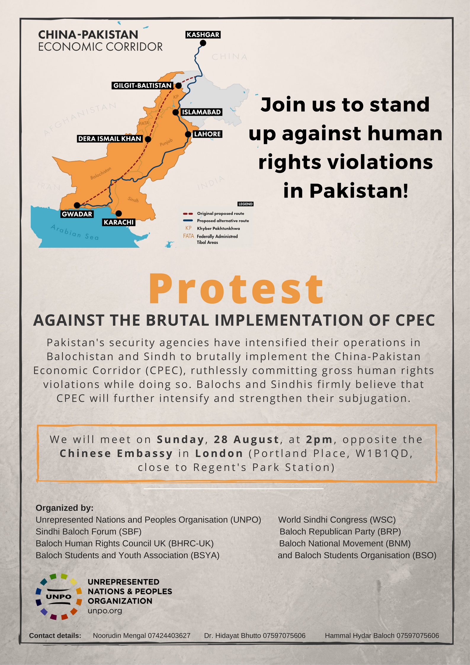 Protest Against Human Rights Abuses Related to Brutal Implementation of CPEC, 28 August 2016, London