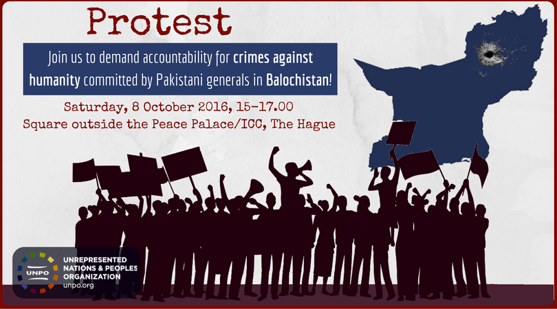 Protest Against Crimes Against Humanity Committed by Pakistani Generals in Balochistan, 8 October 2016, The Hague